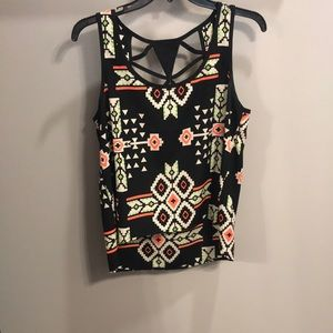 Black Print Top with Cut Out Back